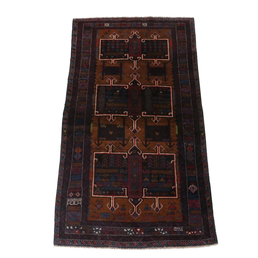 Hand-Knotted Persian Baluch Wool Rug, Circa 1960