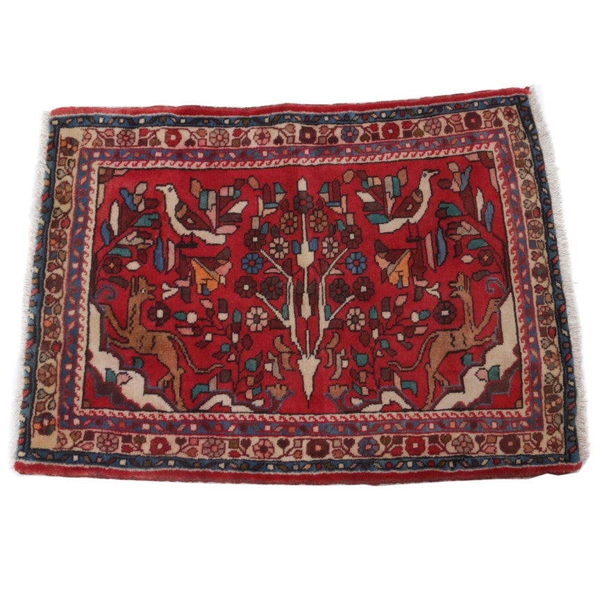 Hand-Knotted Persian Zanjan Pictorial Wool Rug