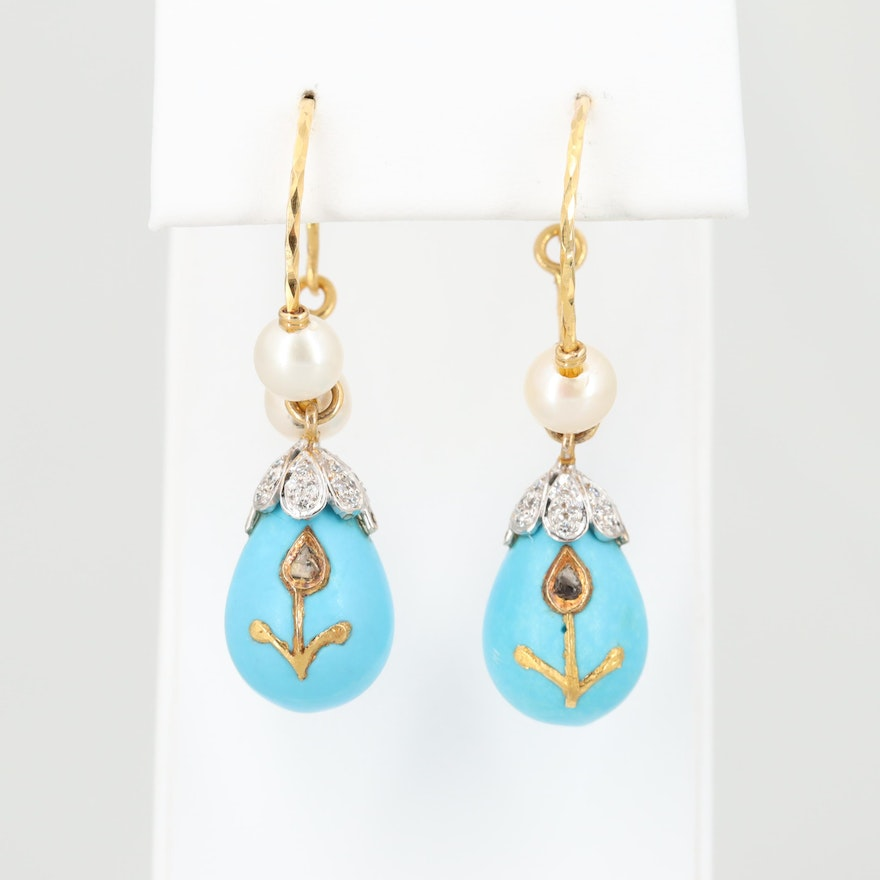 18K Yellow and White Gold Magnesite, Cultured Pearl and Diamond Drop Earrings