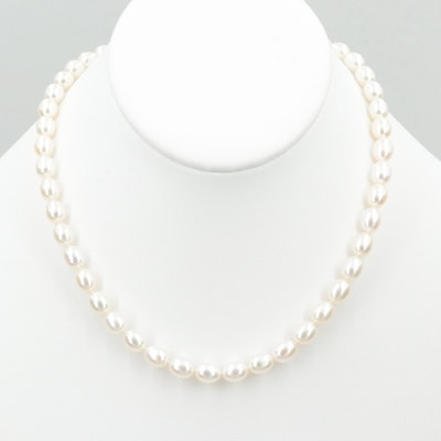 Tiffany & Co. Single Strand Cultured Pearl Necklace with Sterling Silver Finding