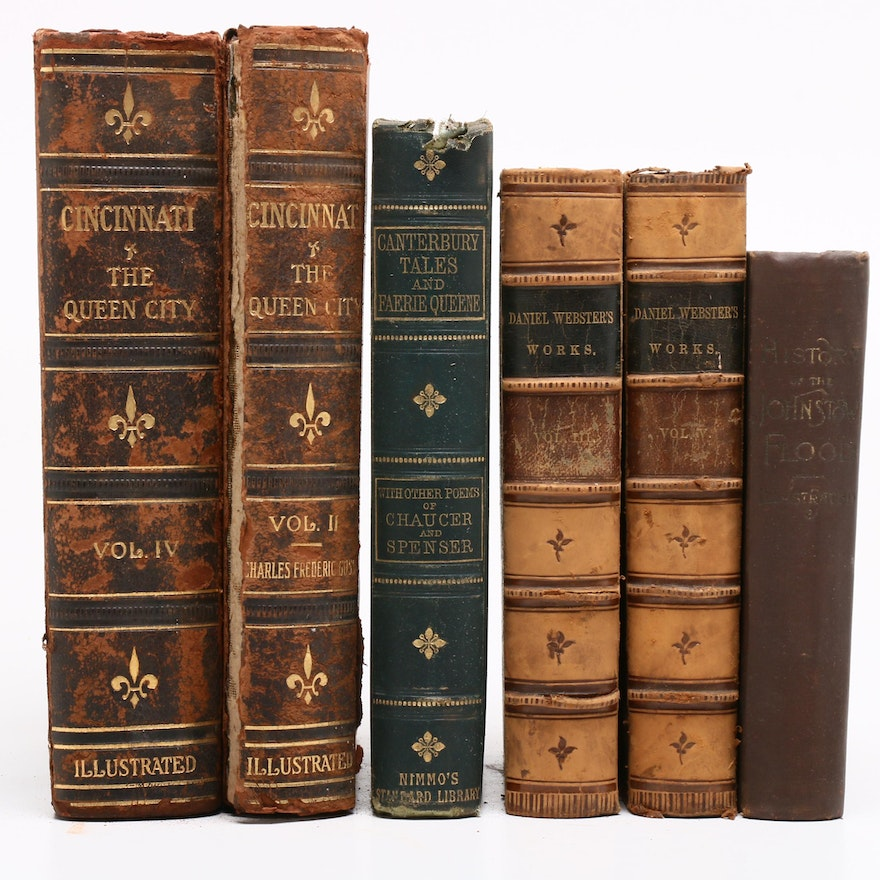 """1874 """"The Canterbury Tales and Fairie Queene"""" and More Antique Books"""