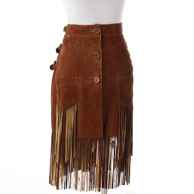 Christian Dior Boutique Paris Brown Suede Fringe Skirt