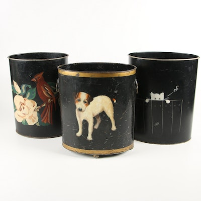 Ransburg and Other Hand-Painted Toleware Waste Baskets