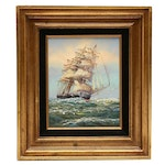 Oil Painting of Clipper Ship at Sea