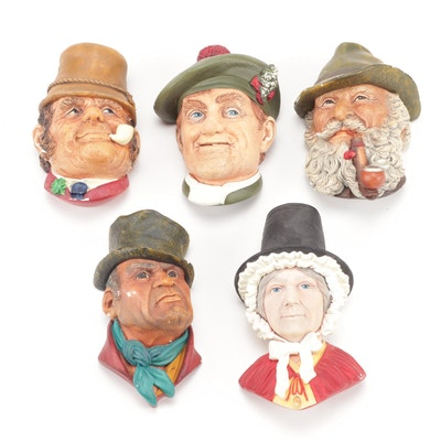 Bossons Chalkware Wall Figurines, Group of Five
