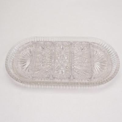 American Brilliant Cut Glass Condiment Tray with Inserts, Circa 1900