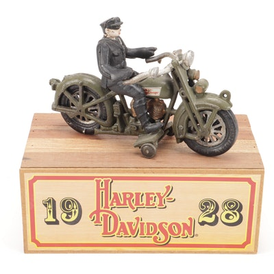 Harley Davidson Limited Ed. Highway Patrol Cast Iron Replica Motorcycle & Rider