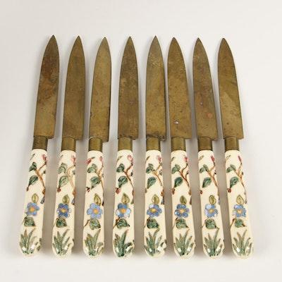 Stahl Bronce Painted Porcelain Fruit Paring Knives