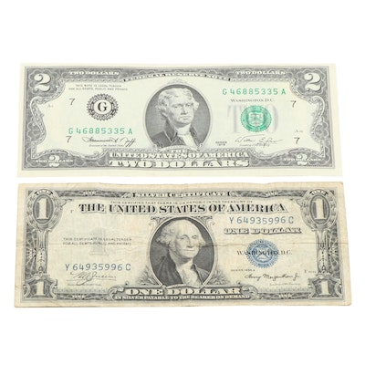 1935-A $1 Silver Certificate and 1976 $2 Federal Reserve Note