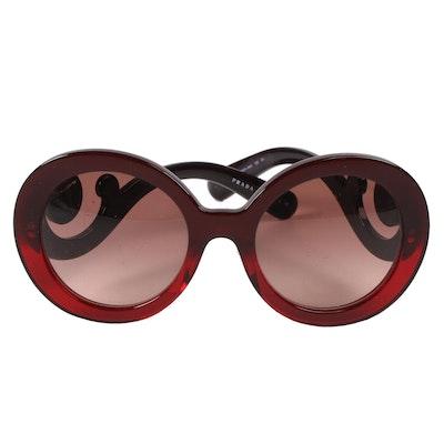 6f14e68fa986 Prada SPR27N Baroque Round Sunglasses in Red and Black