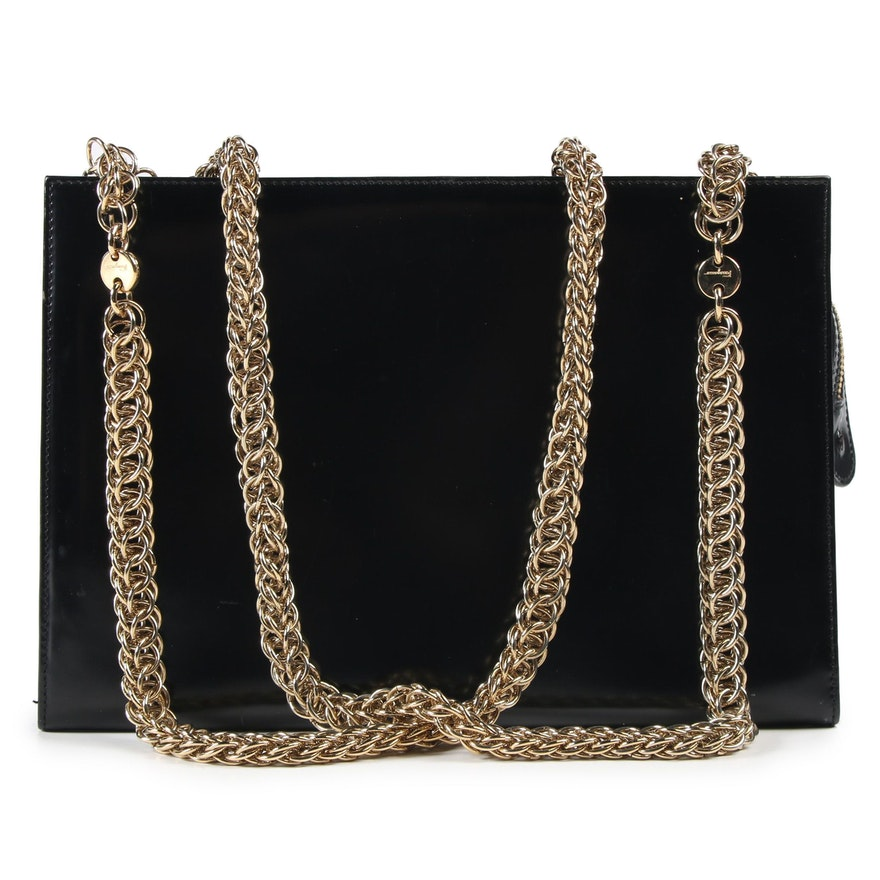 Salvatore Ferragamo Multilink Chain Shoulder Bag in Black Patent Leather