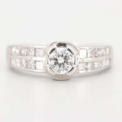 14K White Gold 1.63 CTW Diamond Ring