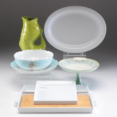 Krautheim Cake Dish, Roscher Serving Dish and Other Serveware and Vase
