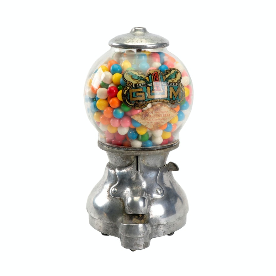 Blue Bird Table Top Gumball Candy Machine, Circa 1920