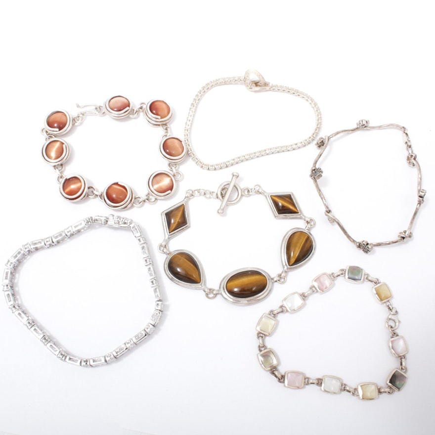 Sterling Silver Bracelets with Tiger's Eye, Cat's Eye, Mother of Pearl, and More