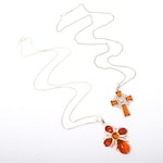 Sterling Silver Imitation Amber Cross Necklaces