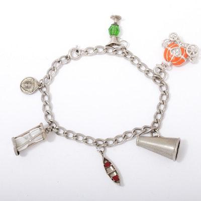 Sterling Silver Charm Bracelet Including Cubic Zirconia