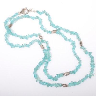 Sterling Silver and Blue Topaz Bead Necklace