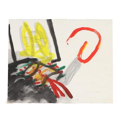 "Jörg Mollet Mixed Acrylic Painting ""Im Umlauf mit den Dingen"""