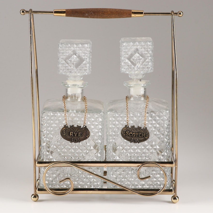 Mid-Century Pressed Glass Decanters in Caddy