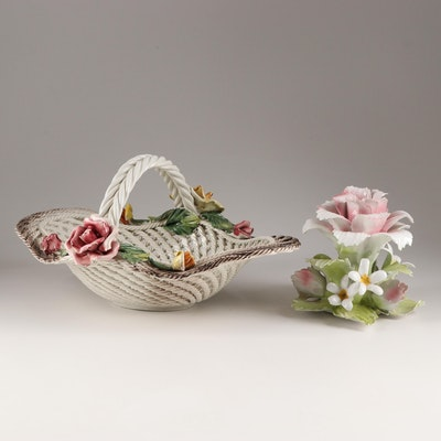 Vintage Capodimonte Floral Basket and Candlestick, Mid 20th Century