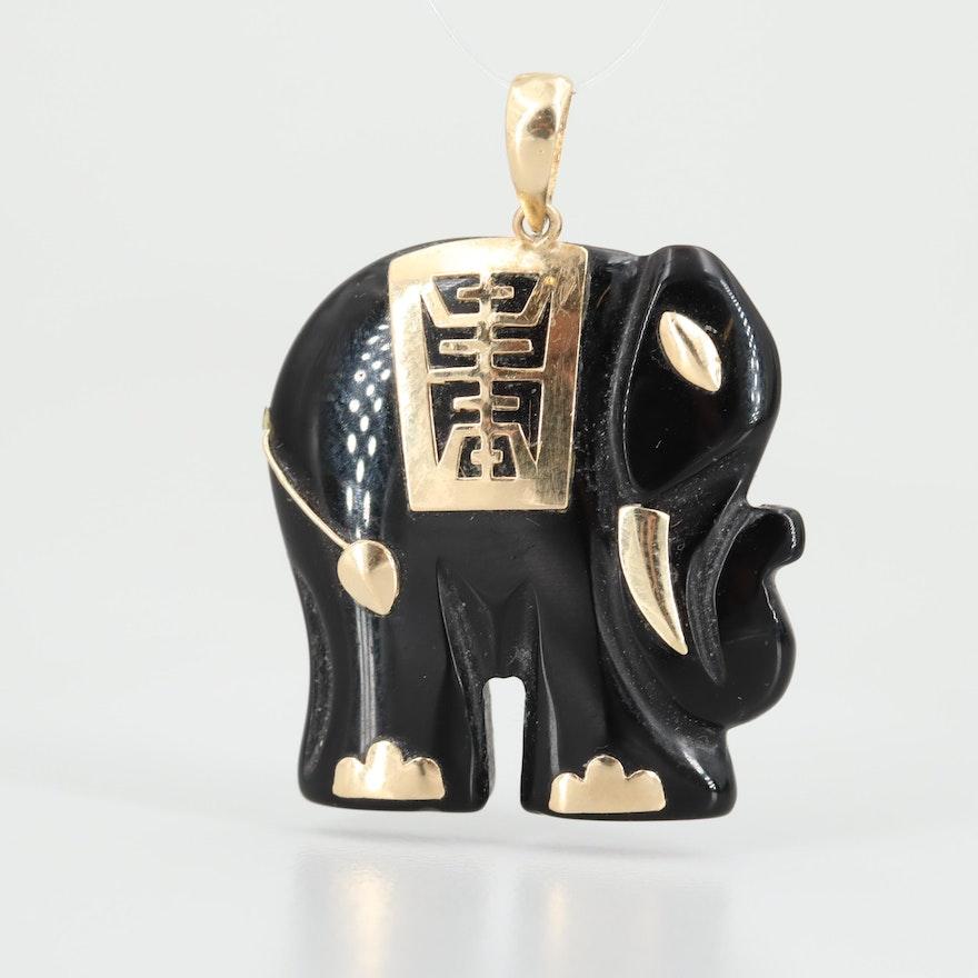 14K Yellow Gold Black Onyx Elephant Pendant