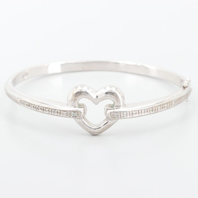 Sterling Silver Diamond Heart Bangle Bracelet