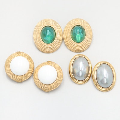 Ciner Costume Glass and Imitation Pearl Earring Selection