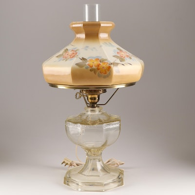Converted EAPG Pressed Glass Greek Key Pattern Oil Lamp with Hand-Painted Shade
