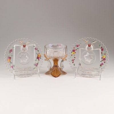 Hand-Painted Glass Plates and Goblet, Vintage