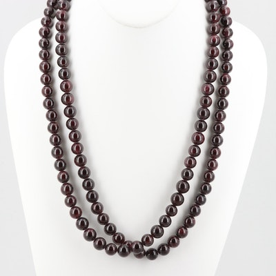 Sterling Silver Garnet Bead Necklace