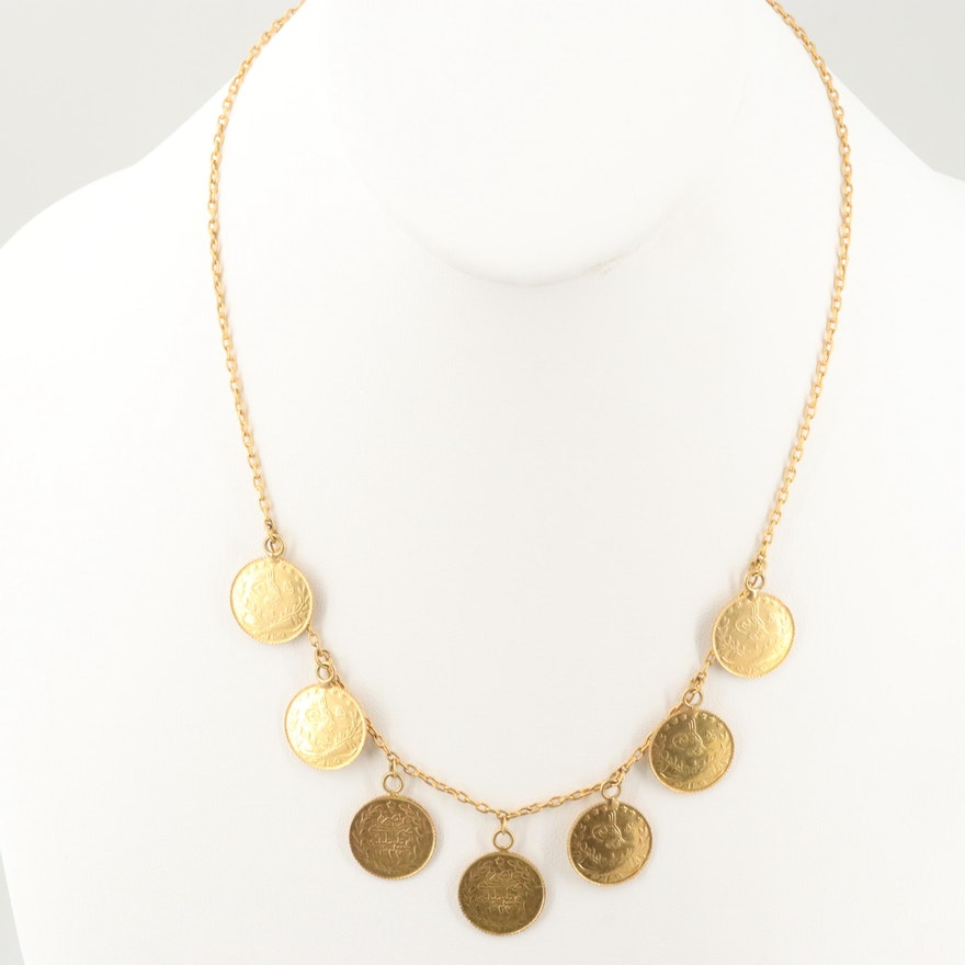 22K Yellow Gold Necklace with 25 Kurus Ottoman Empire Gold Coin of Mehmed V