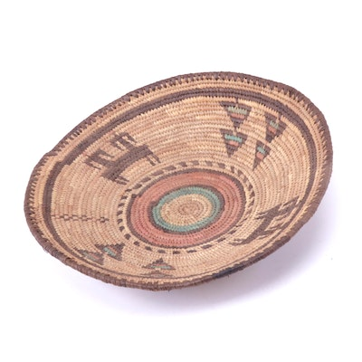 African Woven Pictorial Coil Basket