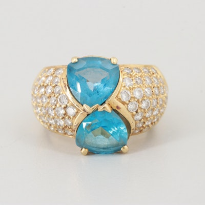 18K Yellow Gold Topaz and 1.73 CTW Diamond Ring