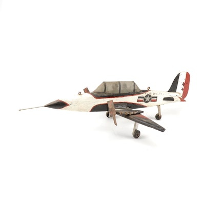 Handcrafted American Fighter Jet Airplane Military Folk Art