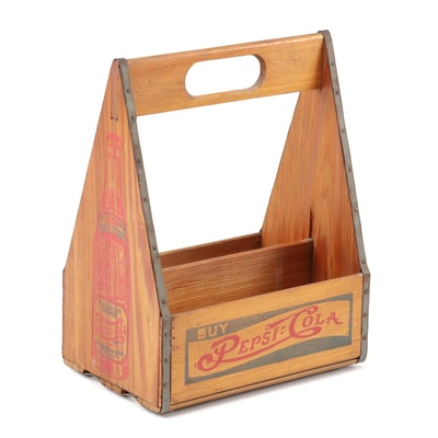 Pepsi-Cola Six Pack Wooden Bottle Carrier, 1930s