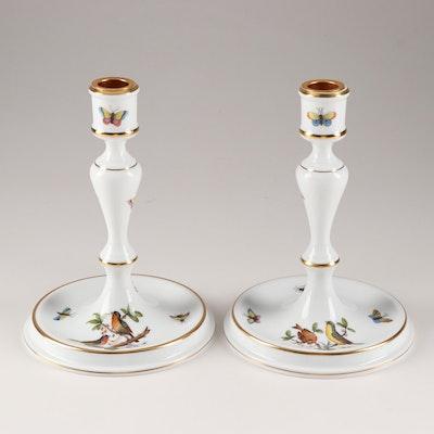 """Herend """"Rothschild Bird"""" Porcelain Candlesticks"""