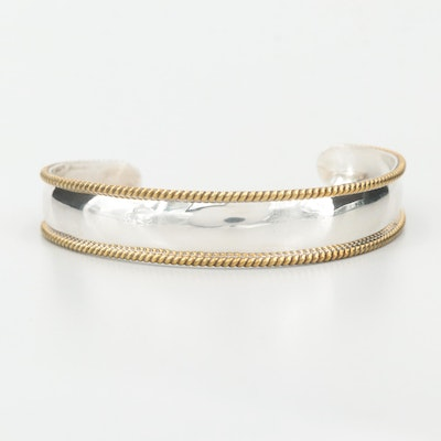 Mexican Sterling Silver Cuff Bracelet with Gold Wash Braid Accents