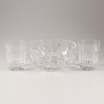 """Waterford Crystal Bowl with """"Millennium Series"""" Double Old Fashions"""