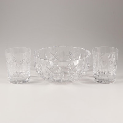 "Waterford Crystal Bowl with ""Millennium Series"" Double Old Fashions"