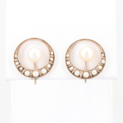 Vintage 10K Rose Gold Cultured Pearl and Seed Pearl Screw Back Earrings