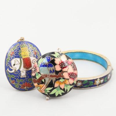Gold Tone Enamel Cloisonné Pendants and Bracelets