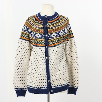 Norwegian Hand-Knit Wool Cardigan Sweater