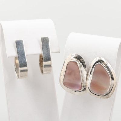 Sterling Silver Mother of Pearl Earrings and J Hoop Earrings