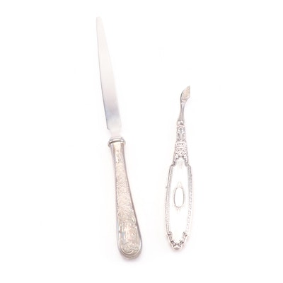 Sterling Silver Cuticle Tool and Silver Plate Letter Opener