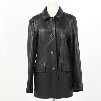 Whet Blu Black Lambskin Leather Button-Front Jacket