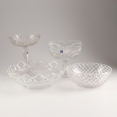 Pressed Glass Serveware Featuring Crystal Clear Industries and Pattern Glass