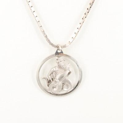 Sterling Silver Aquarius Motif Pendant Necklace