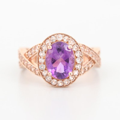 10K Rose Gold Amethyst and White Sapphire Ring
