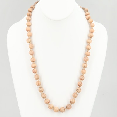 Hand-Knotted Vegetable Ivory Beaded Necklace